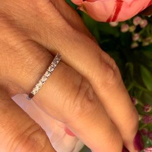 White Sapphire 925 Sterling Silver Band